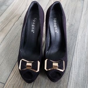 Peep toe stiletto heels